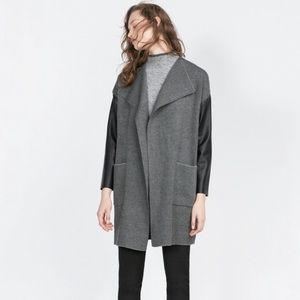 Zara knit waterfall coat with faux leather sleeves